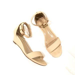 Nude color low wedges heels